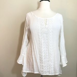 Tops - White XXL Crochet Detail Top